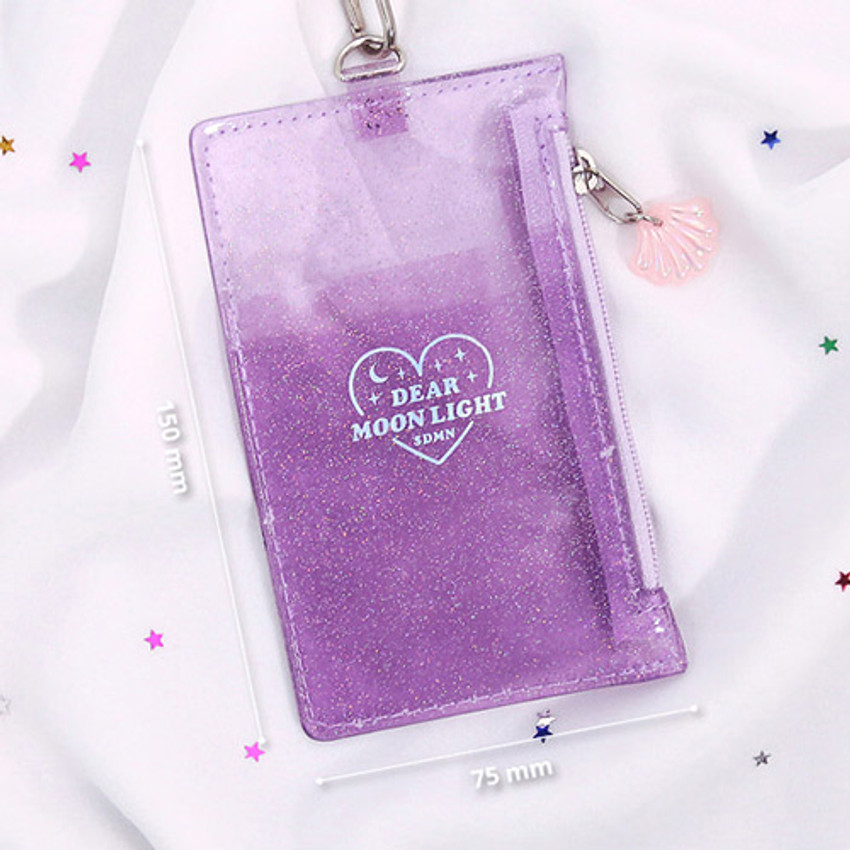Size - Dear moonlight twinkle zipper card case with neck strap