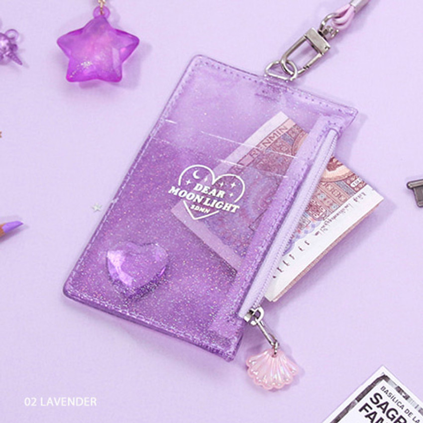 Lavender - Dear moonlight twinkle zipper card case with neck strap