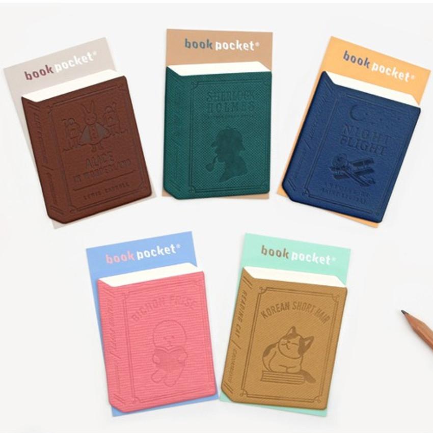 Bookfriends Book PU sticky pocket phone card case wallet