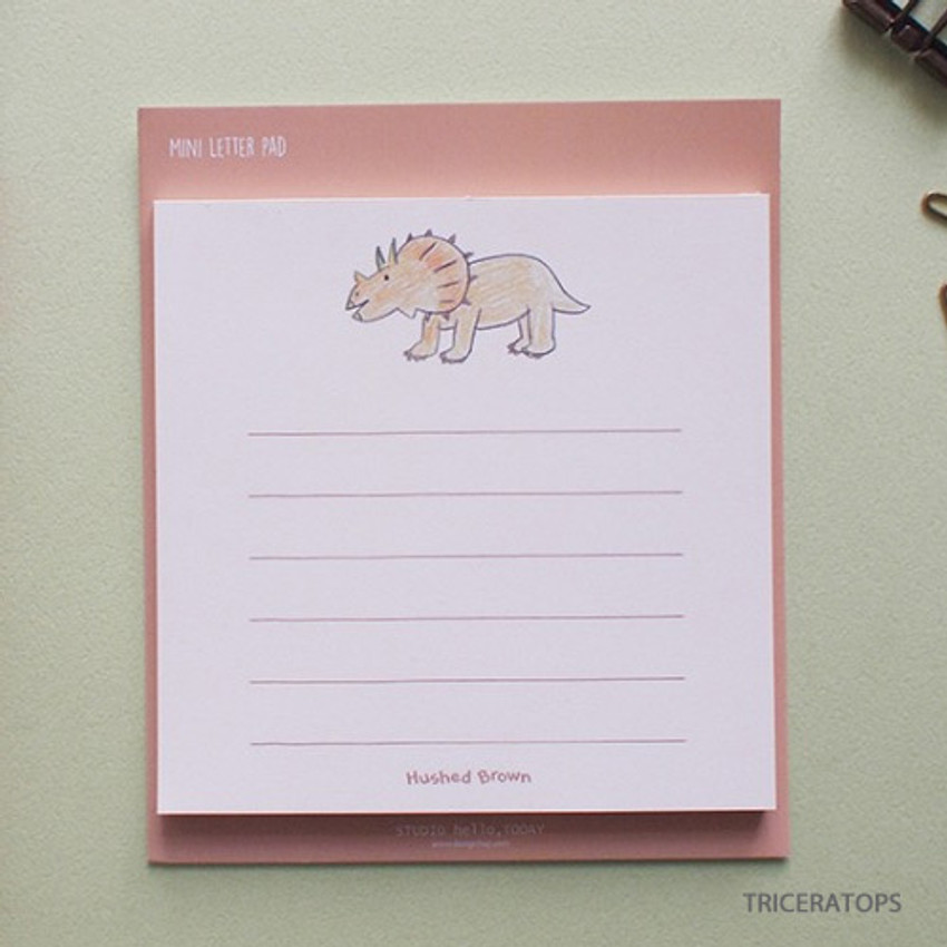 Triceratops - Hello Today Hushed brown small lined memo notepad
