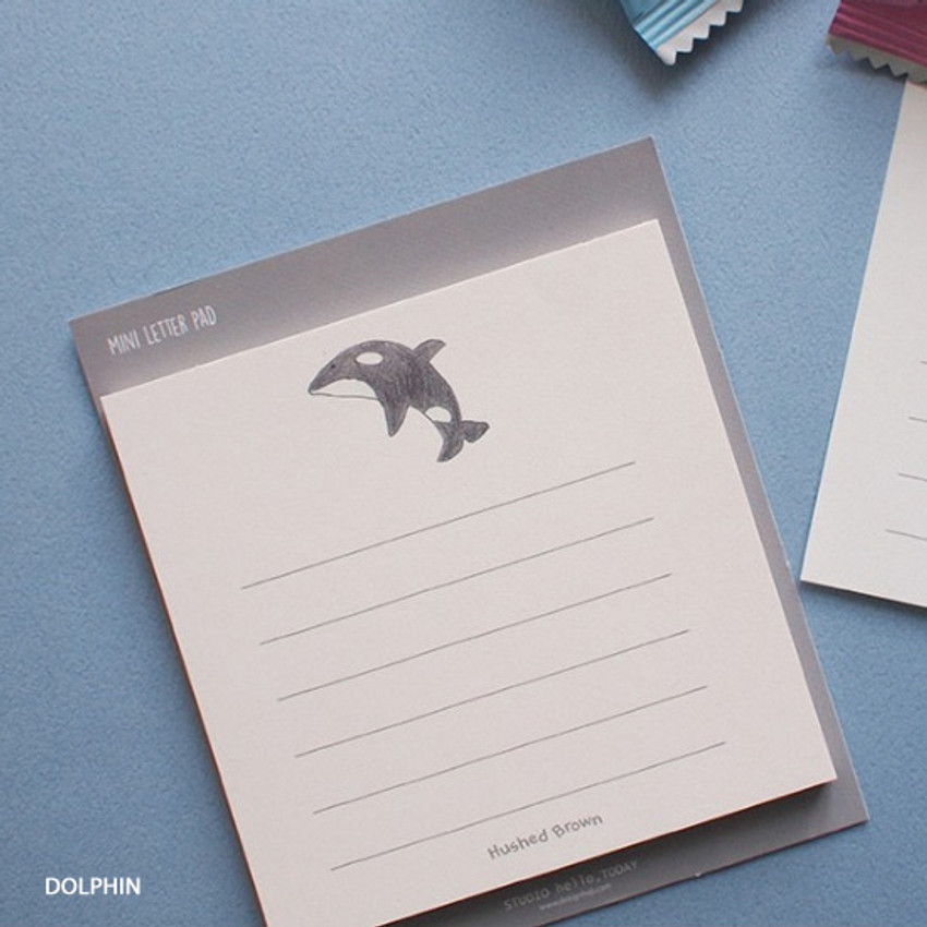Dolphin - Hello Today Hushed brown small lined memo notepad