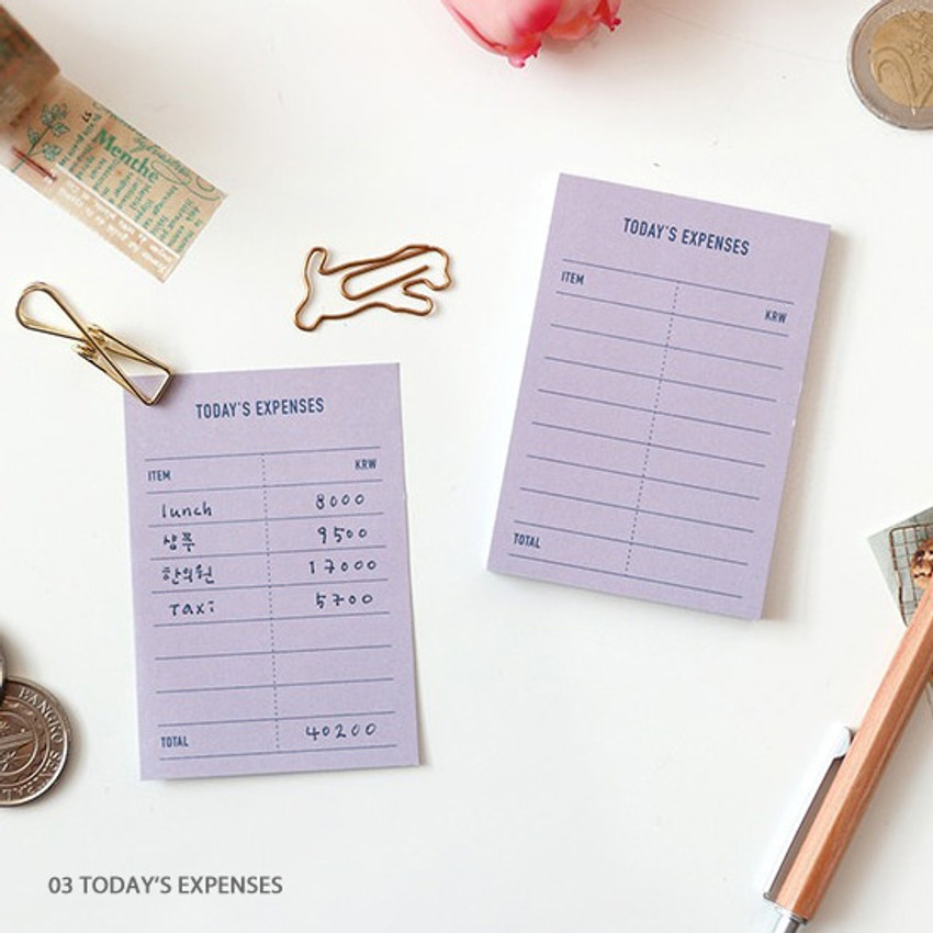 Today's expenses - PAPERIAN Make a memo sticky notepad