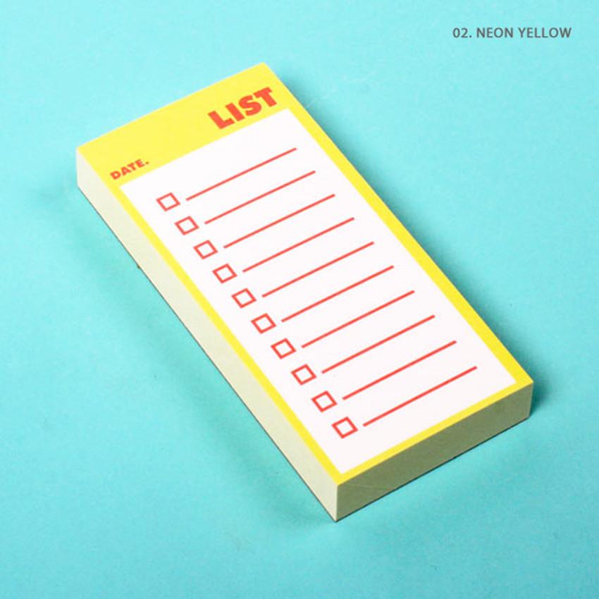 Neon yellow - Lucalab Neon small checklist memo notepad