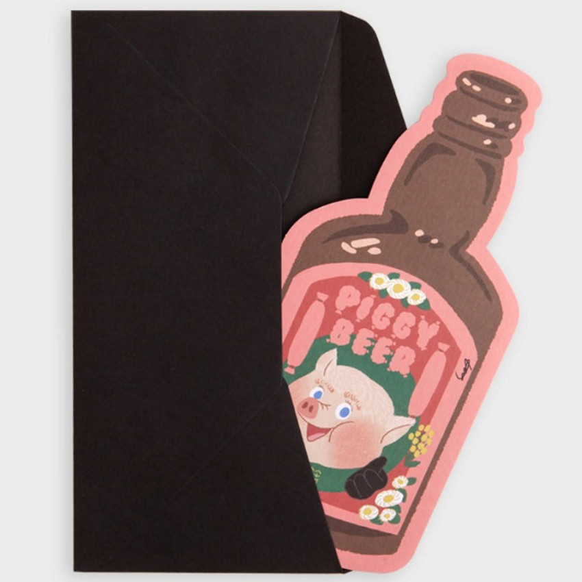 SOSOMOONGOO Piggy beer card and envelope set