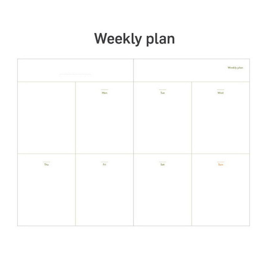 Weekly plan - 12 months dateless weekly diary planner