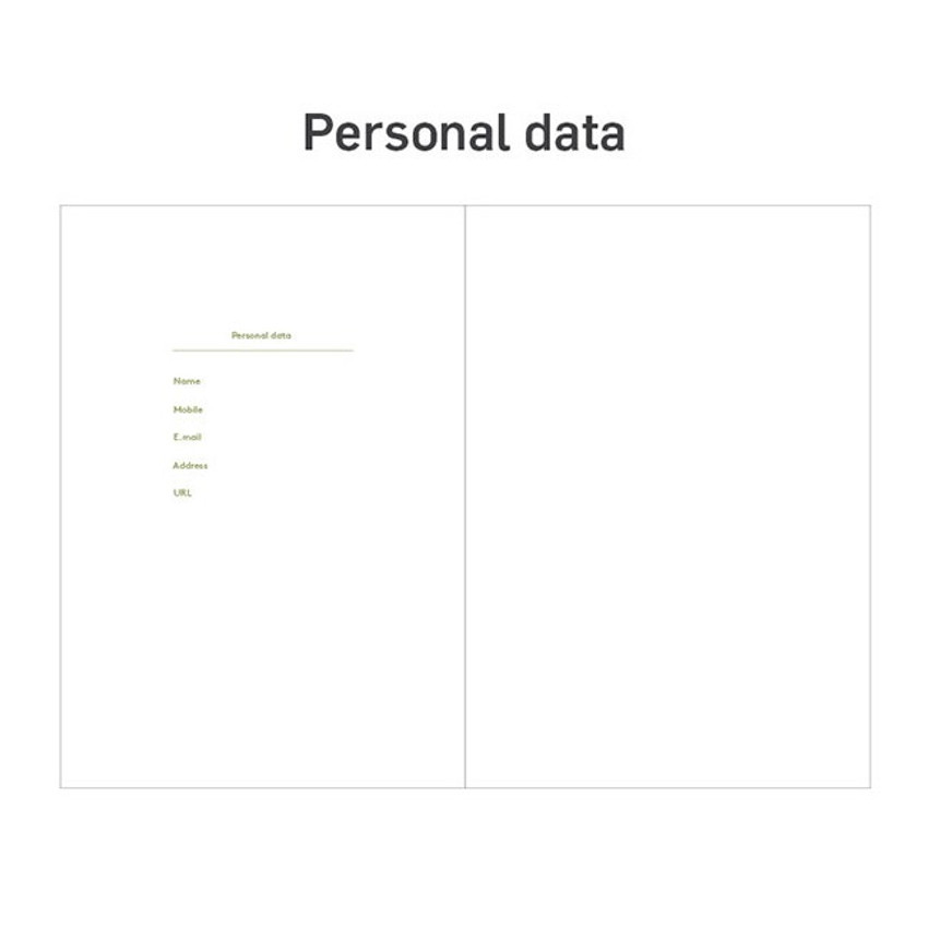 Personal data - 12 months dateless weekly diary planner