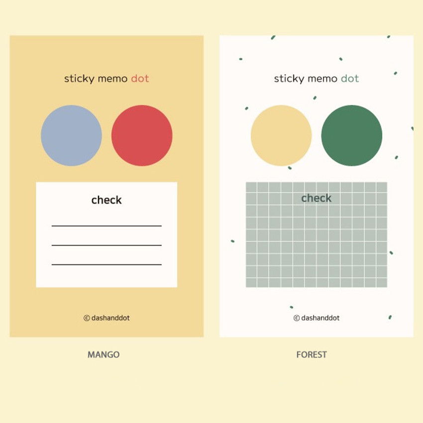 Color - Dash and Dot Dots and check memo notes sticky notepad
