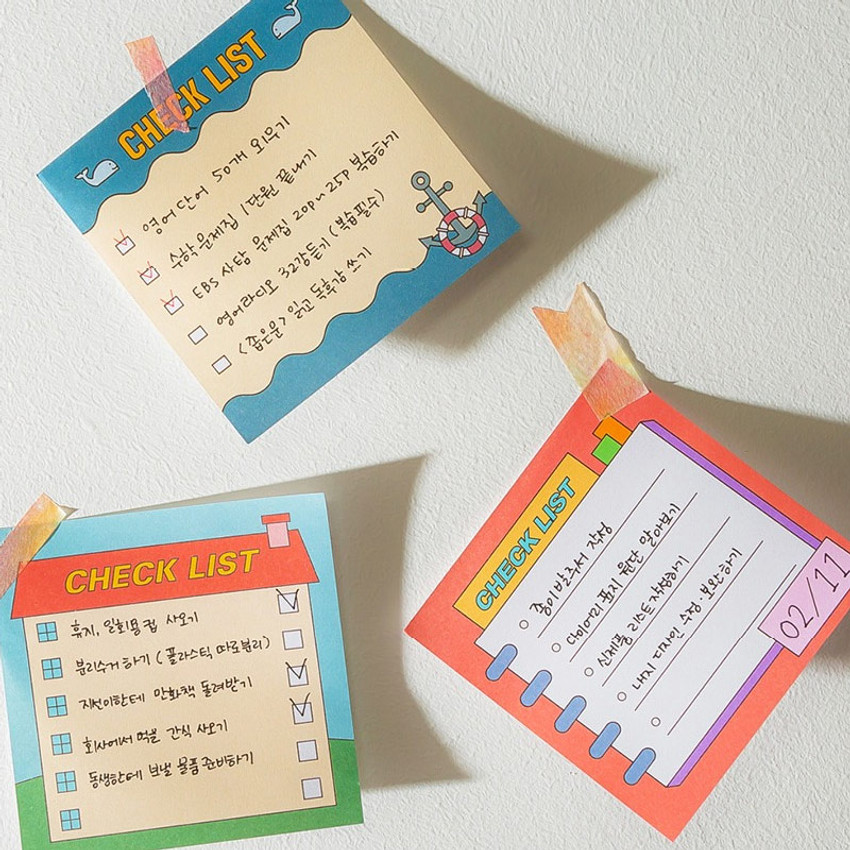 Example of use - Cute checklist to do list memo notepad