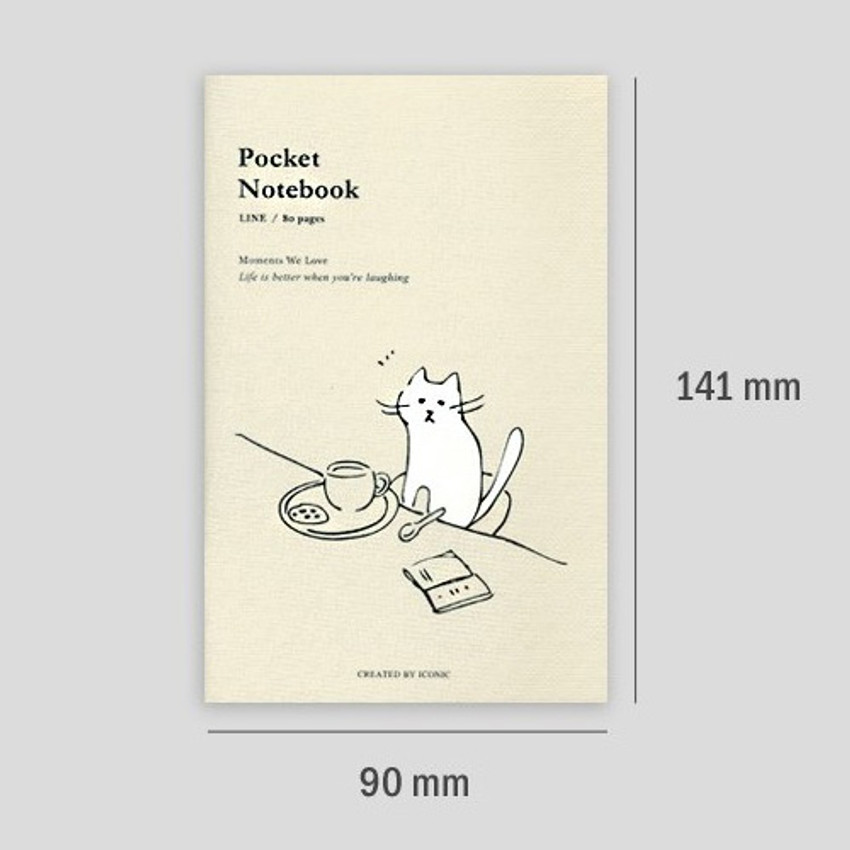 Size - ICONIC Pocket sewn bound small lined notebook ver2