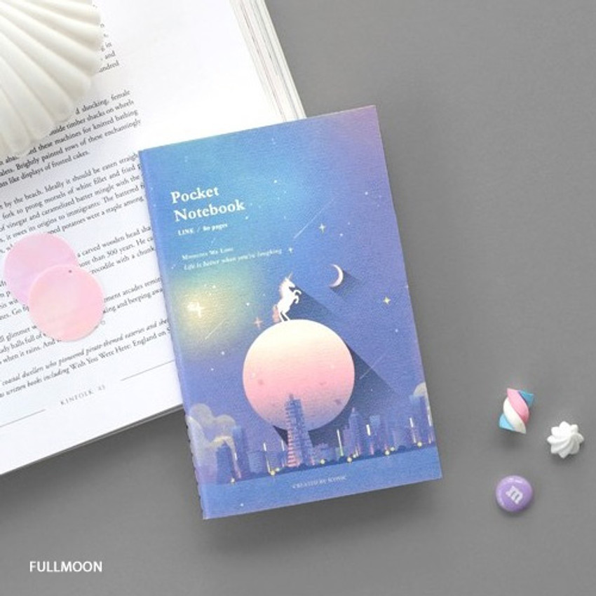 Fullmoon - Pocket sewn bound small lined notebook ver2