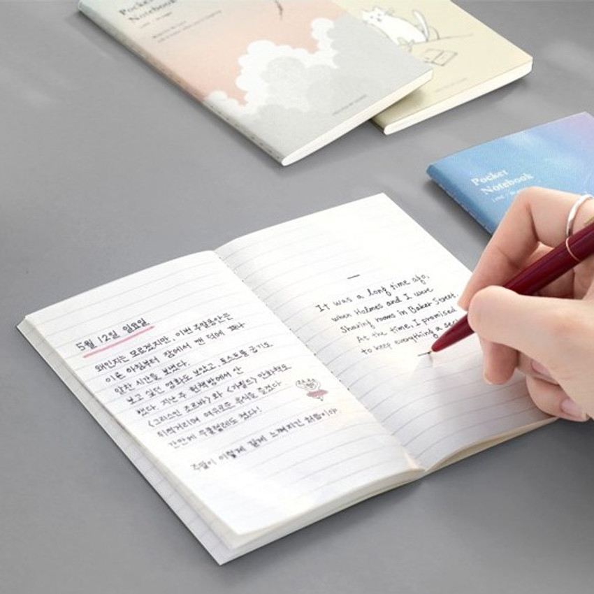Example of use - Pocket sewn bound small lined notebook