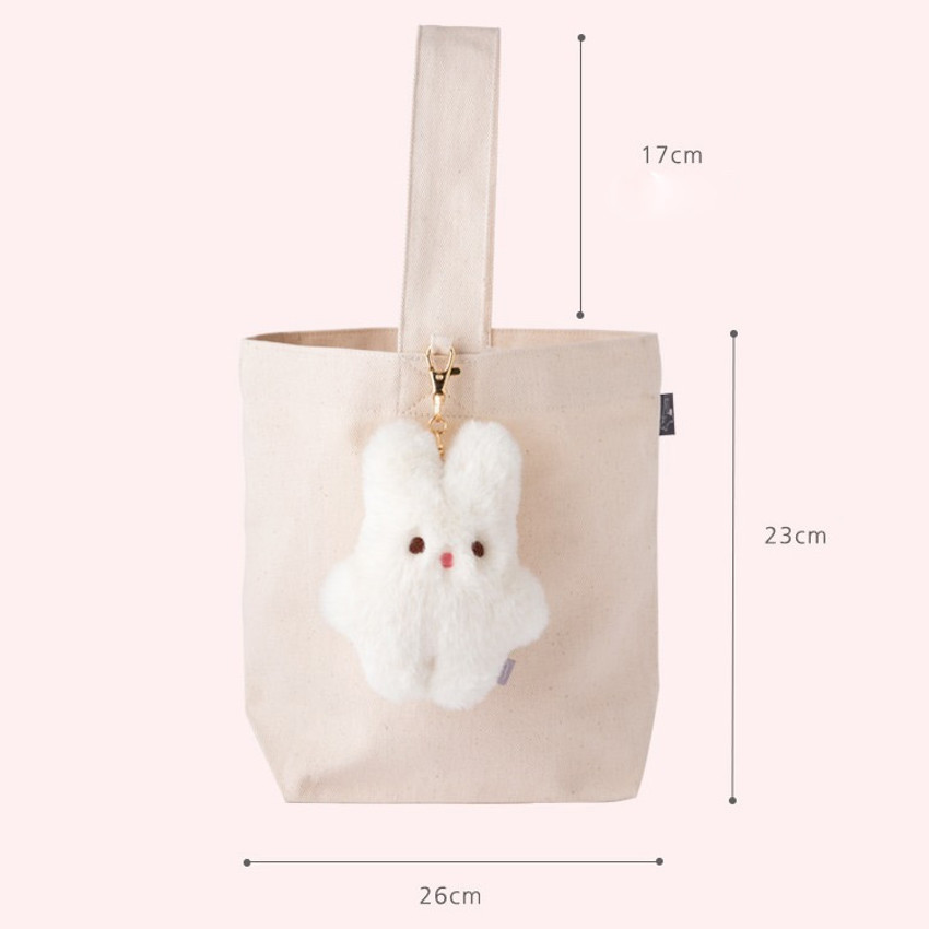 Size - Piyo popuree cotton tote bag with cute doll charm