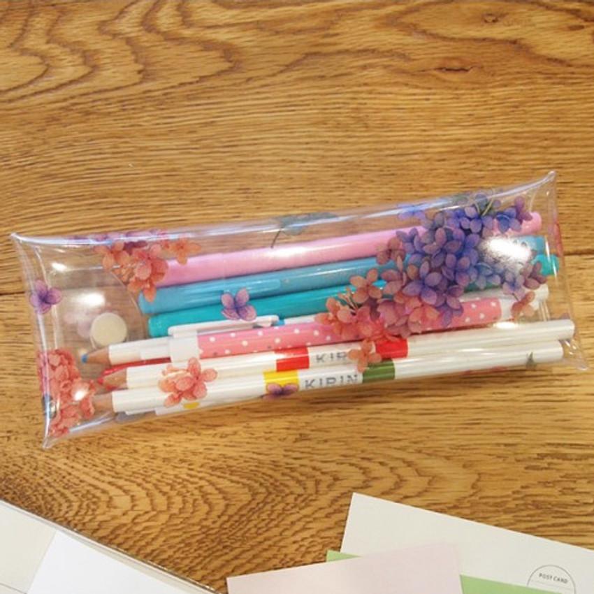 Hydrangea - Moons friends flower clear folding pencil case