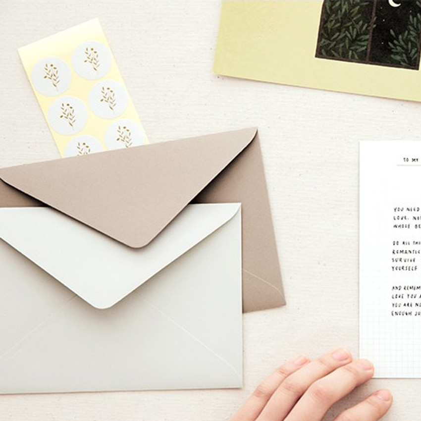 envelopes and stickers - Korean poetry postcard and envelope set