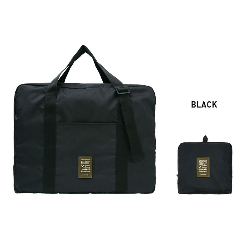 Black - Easy carry small travel foldable duffle bag