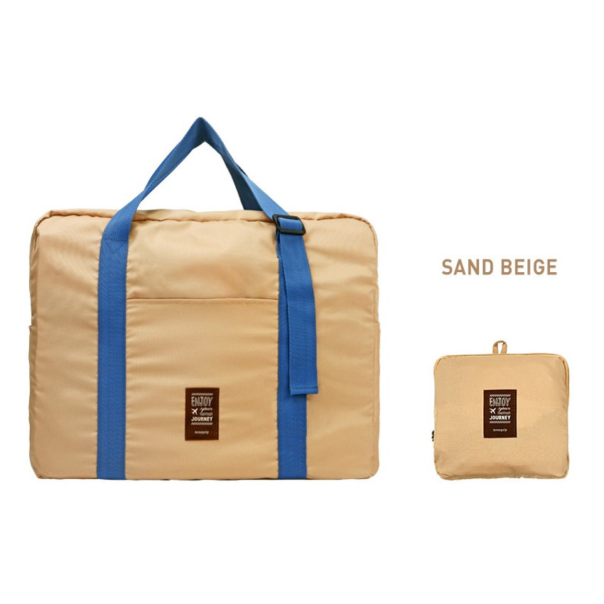 Sand beige - Easy carry small travel foldable duffle bag