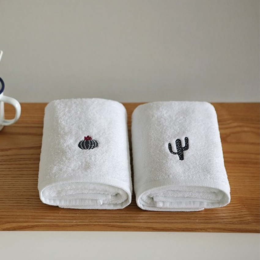 Dailylike Embroidery cotton hand towel set - Cactus