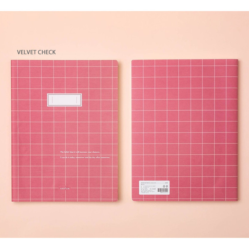 Velvet check - Soft pattern extra large lined school notebook