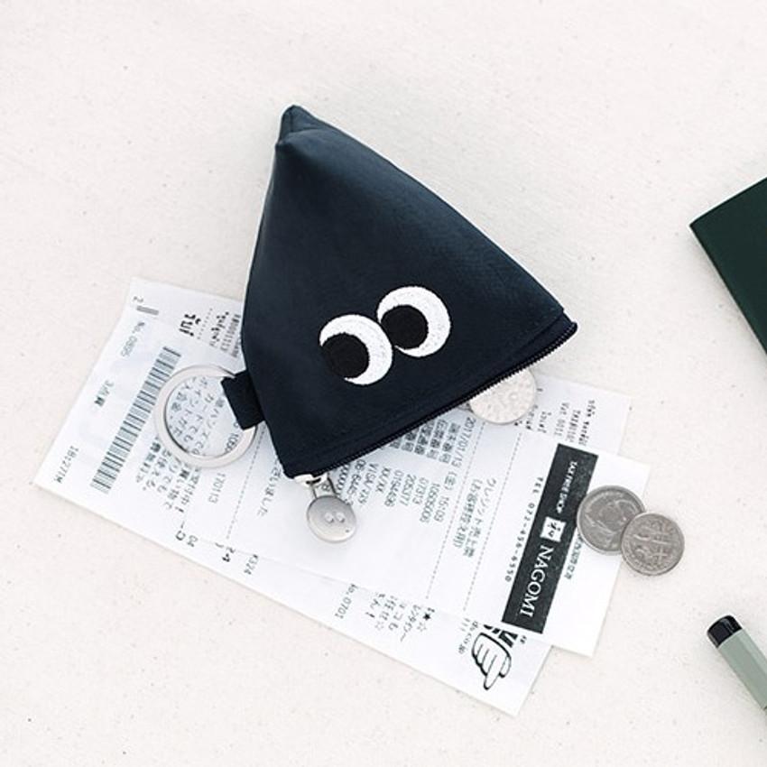 Navy - Som Som stitch earphone small zipper pouch