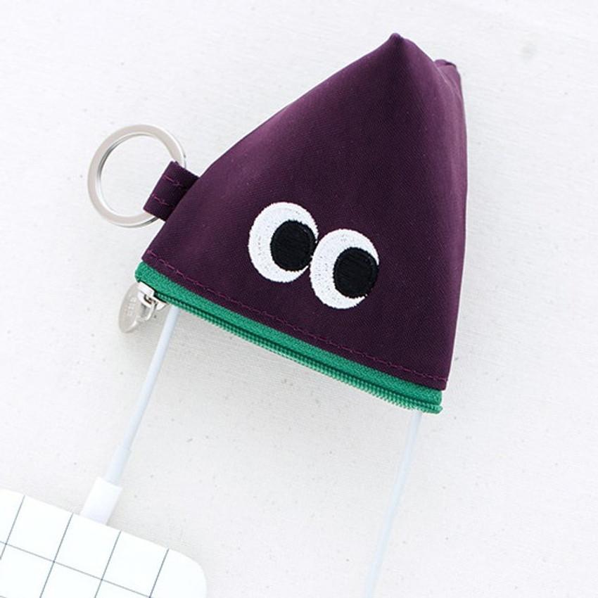 Purple - Som Som stitch earphone small zipper pouch