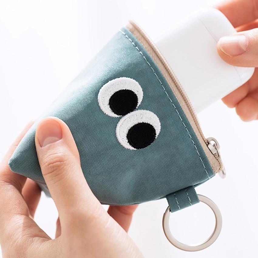 Sky blue - Som Som stitch earphone small zipper pouch