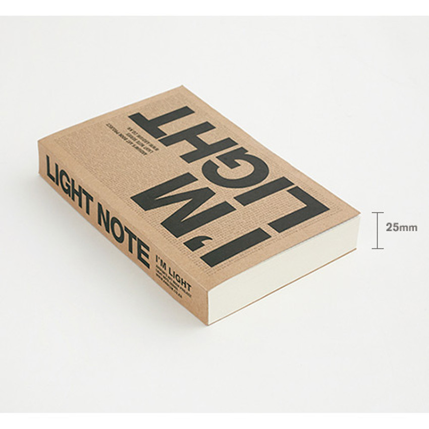Size of I'm Light handy plain notebook