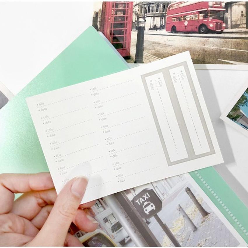 index sticker - 2young Pastel 4X6 slip in 160 pockets photo album