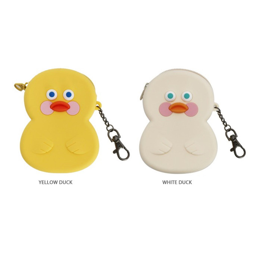 Option - Brunch brother duck silicon zipper pouch with keychain