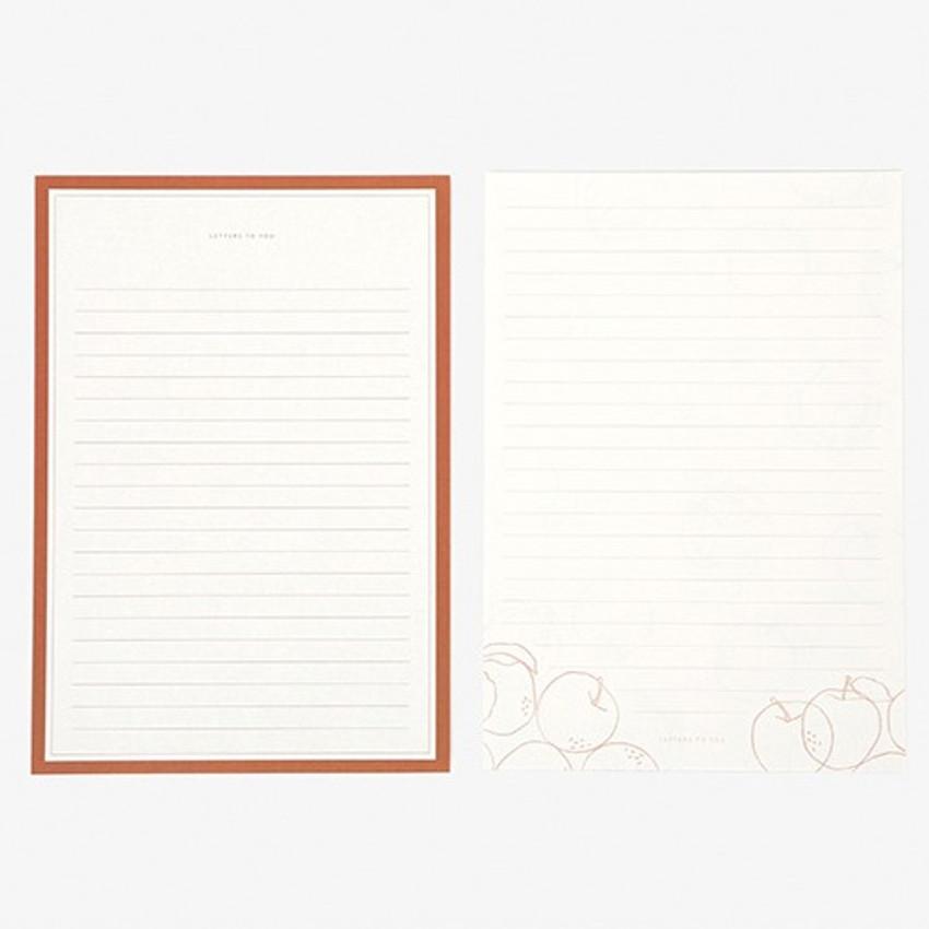 Letter - Dailylike Daily letter paper and envelope set - Plain apple