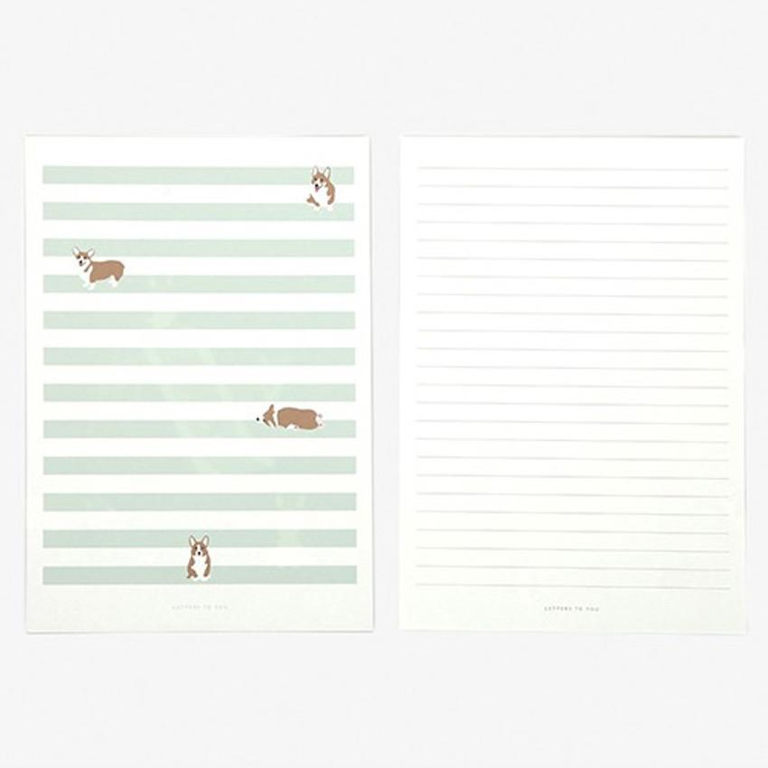 Letter - Daily letter paper and envelope set - Welsh corgi