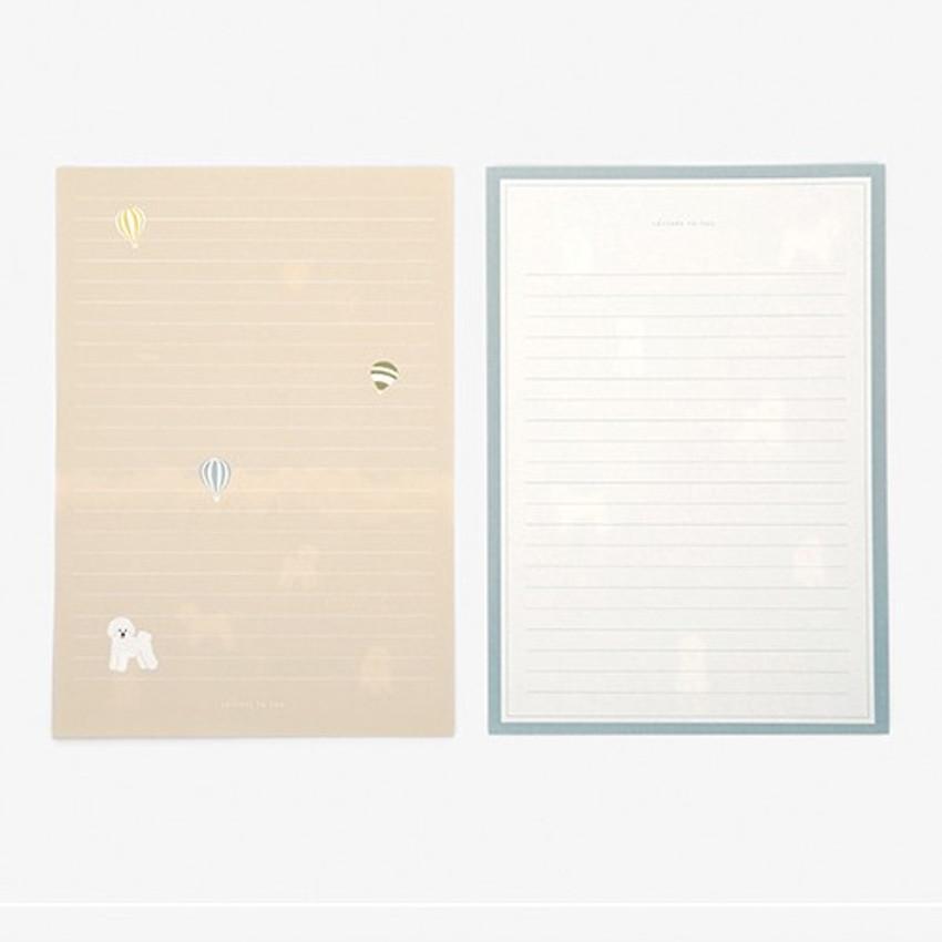 Letter - Daily letter paper and envelope set - Bichon frise