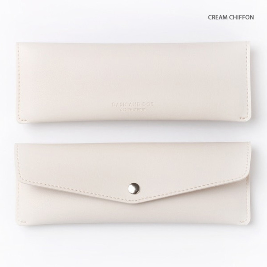 Cream chiffon - Merci PU stitched slim pencil case pouch