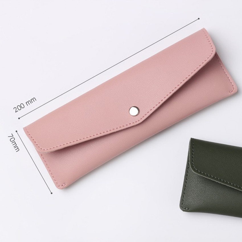 Size - Merci PU stitched slim pencil case pouch