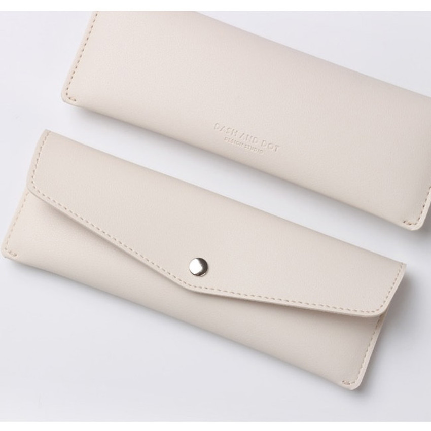 Logo - Merci PU stitched slim pencil case pouch