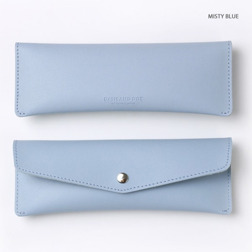 Misty blue - Merci PU stitched slim pencil case pouch