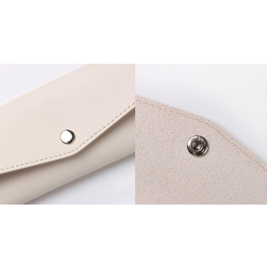 Snap button - Merci PU stitched slim pencil case pouch
