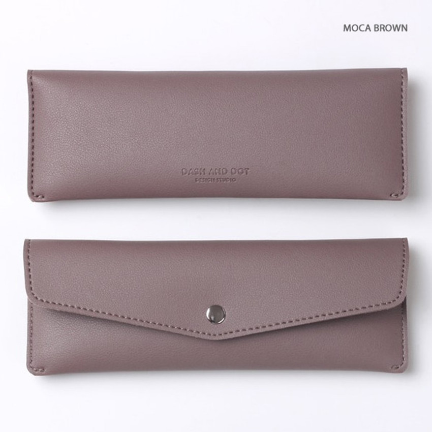 Mocha brown - Merci PU stitch slim pencil case pouch