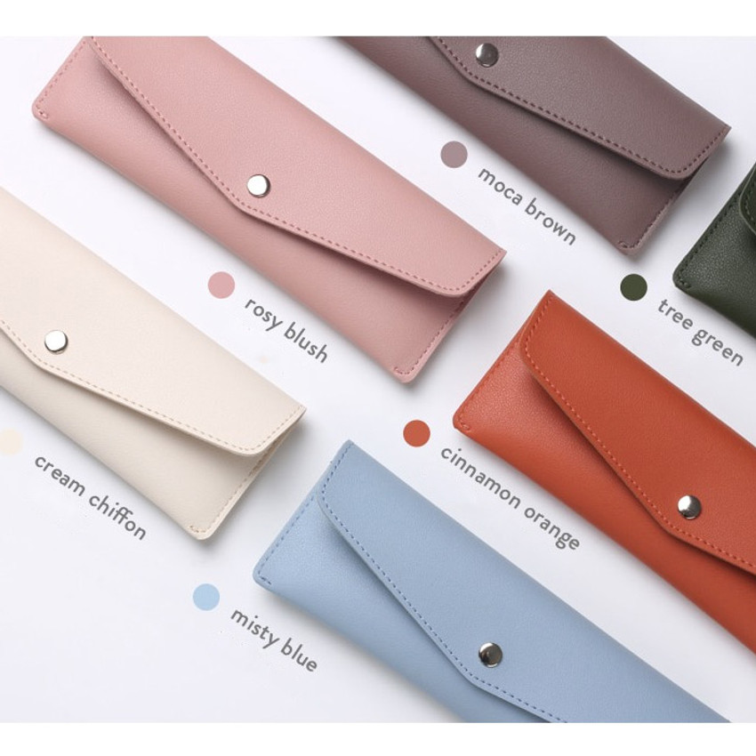 Color - Merci PU stitched  slim pencil case pouch