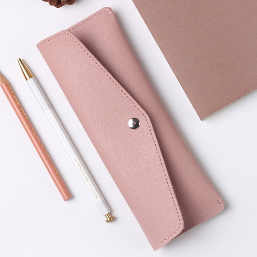 Rosy blush - Merci PU stitched slim pencil case pouch