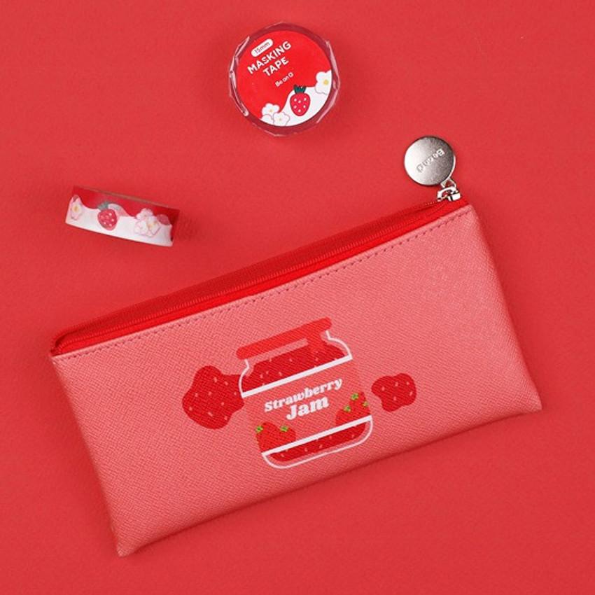 Strawberry jam - Fruit PU flat zipper pencil case pouch