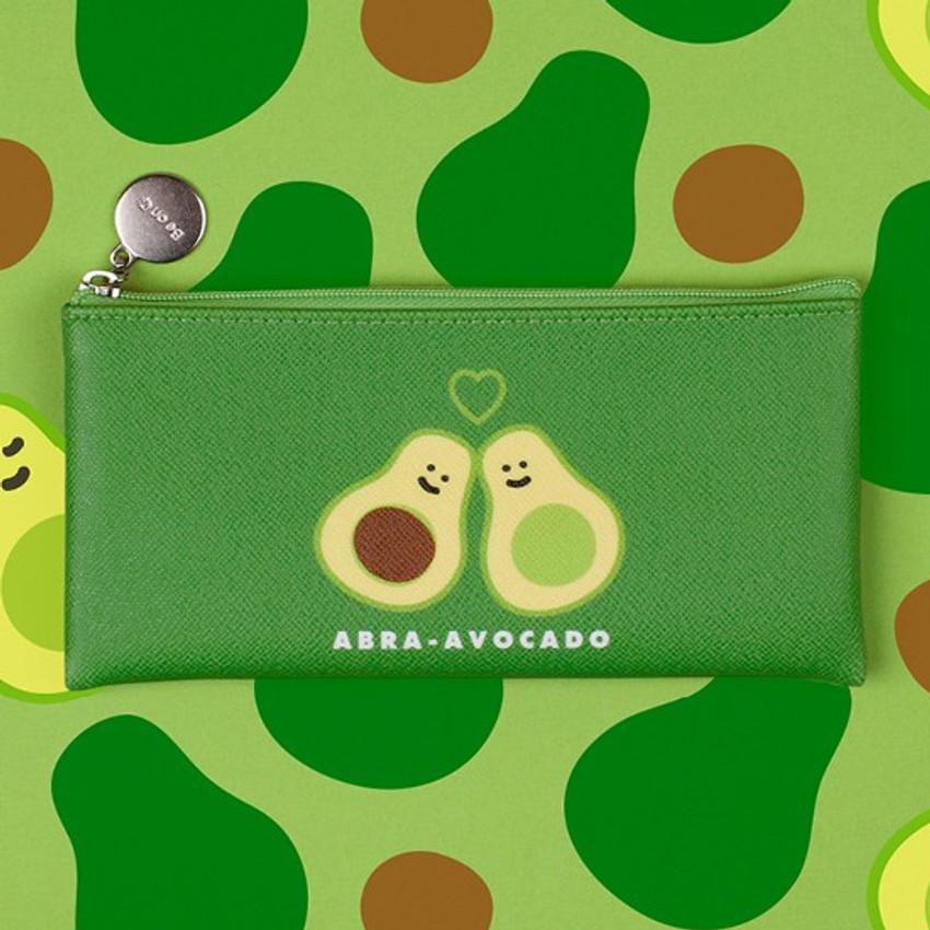 Abra avocado - Fruit PU flat zipper pencil case pouch
