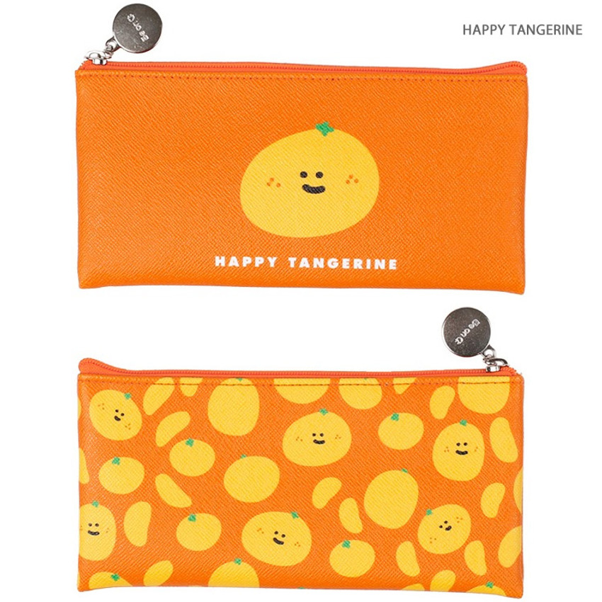 Happy tangerine - Fruit PU flat zipper pencil case pouch