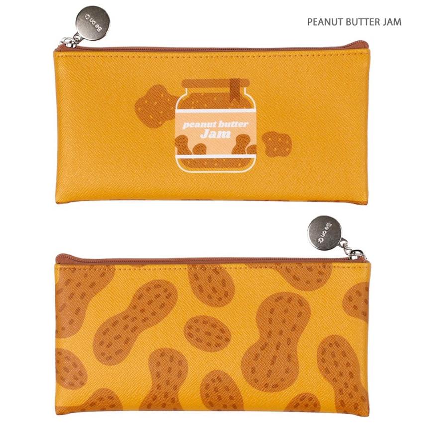 Peanut butter jam - Fruit PU flat zipper pencil case pouch