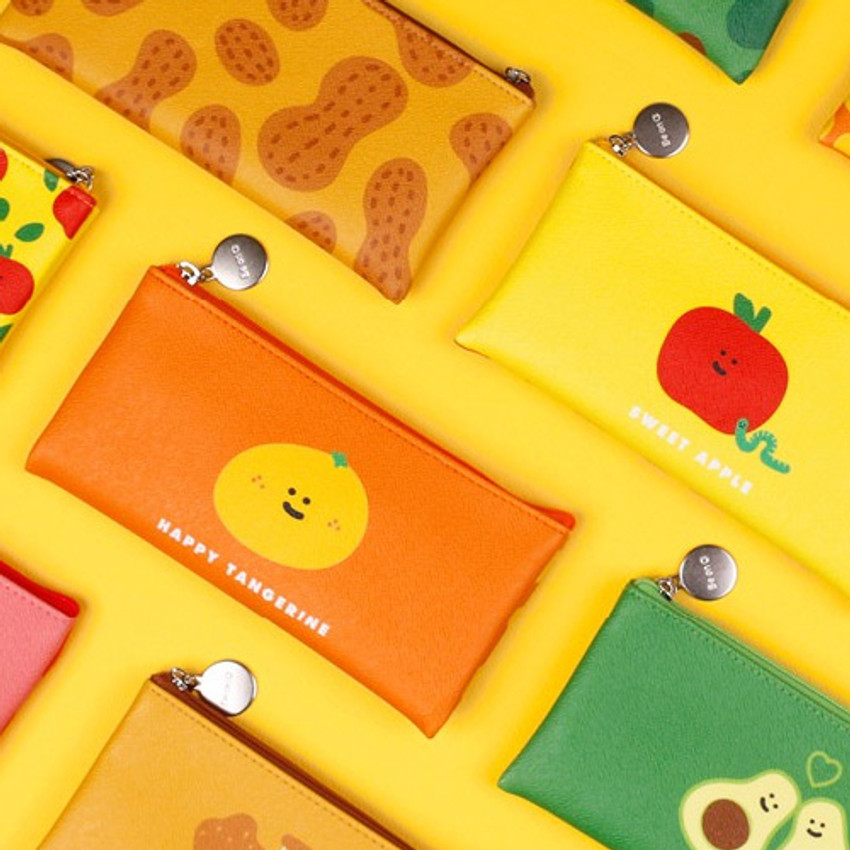After The Rain - Fruit PU flat zipper pencil case pouch