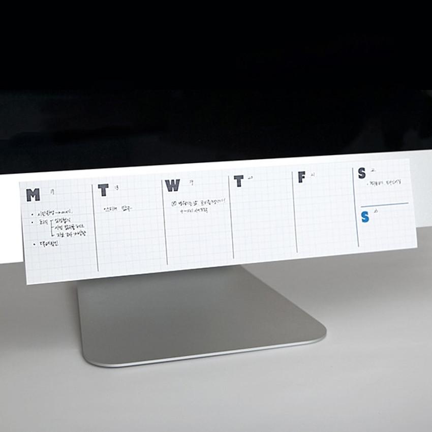 JSTORY Grid sticky dateless weekly desk planner pad