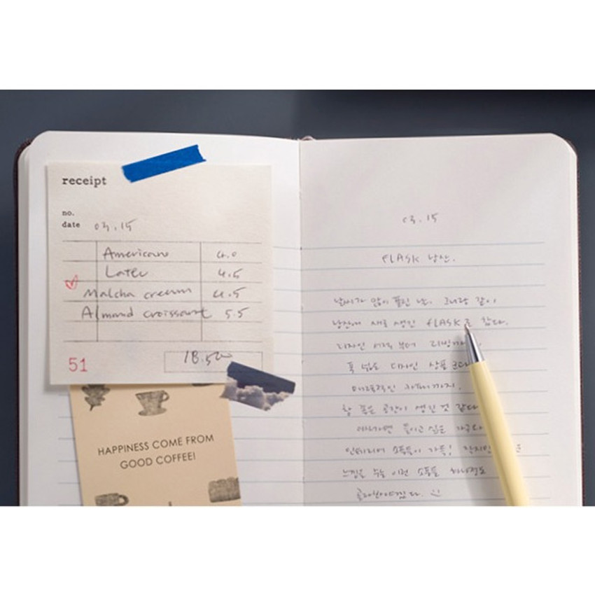 Example of use - Record Remember Tomorrow small hardcover lined notebook