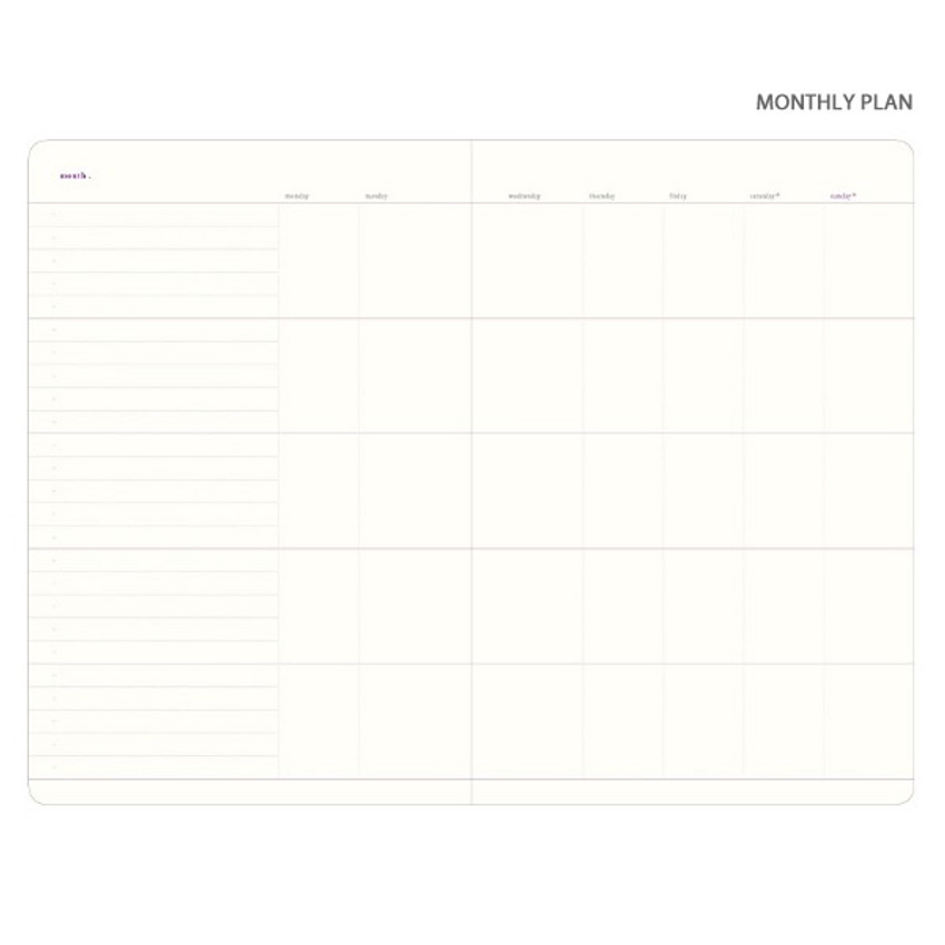 Monthly plan - Plan Record Day 4 months spiral dateless daily planner