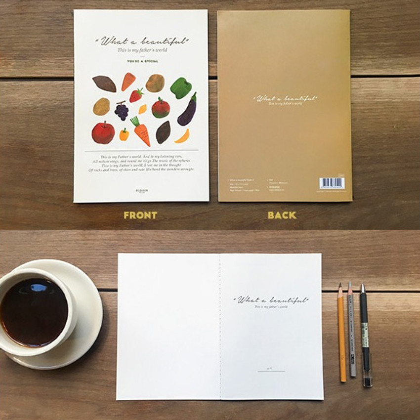 Front and Back - What a beautiful fruits A5 lined notebook