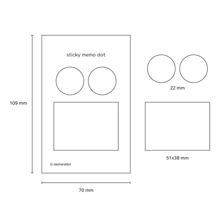Size - Dots and angle memo notes sticky notepad