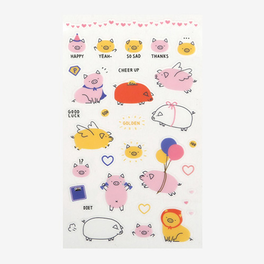 Daily transparent clear deco cute sticker - Pig